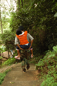 This girl was beat after a steep hill climb and couple kilometer walk through a cave.