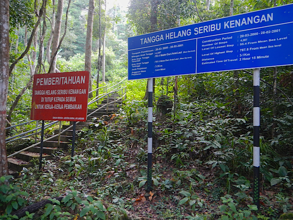 Sign for Steps up Gunung Raya Mountain
