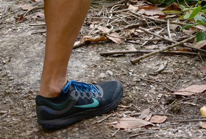 Man Running in Nike Zoom Terra Kiger shoes on the trail in Southern Thailand.