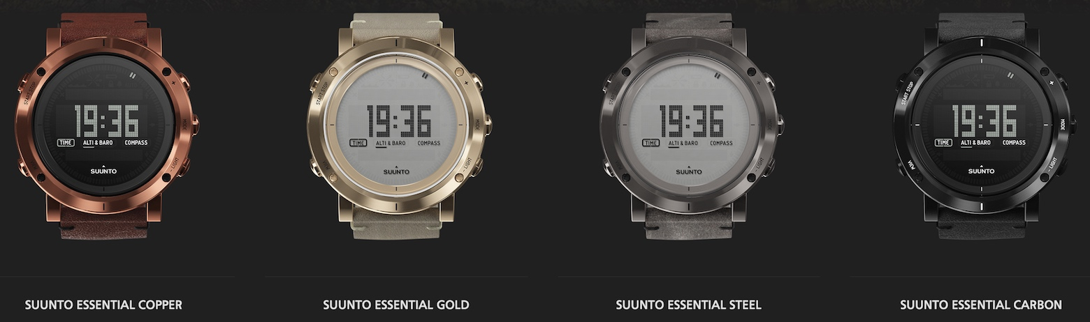 Suunto Essential Collection - Copper, Gold, Steel, Carbon smart watches.