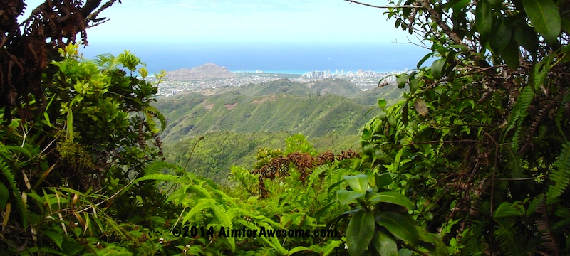 Hawaii Loa Summit hike view looking toward Diamond Head Volcano and Waikiki.